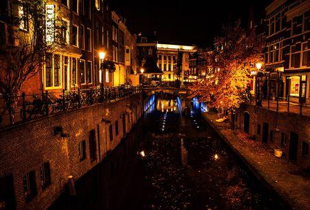 the netherlands: Night city streets. Utrecht - Netherlands.