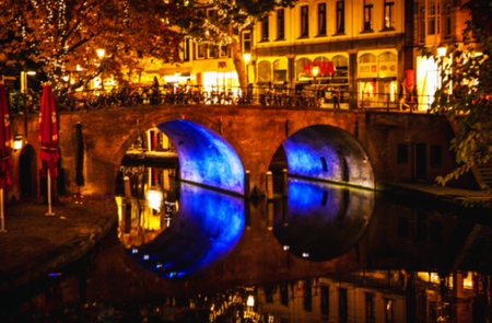 netherlands: UTRECHT, NETHERLANDS: Night city streets. Utrecht - Netherlands.