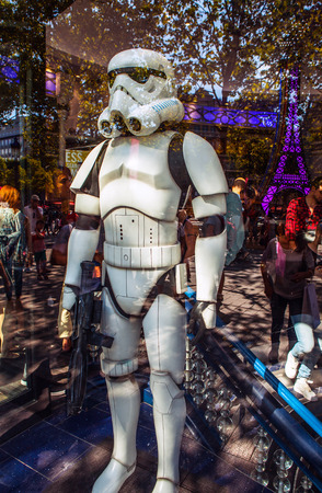 showwindow: PARIS, FRANCE - AUGUST 30, 2015: Soldier from star wars in show-window of toy store. Paris. Editorial