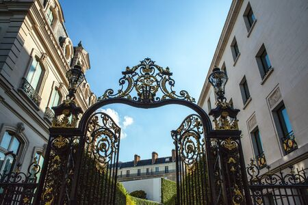 entrance gate: Forged speared fence. Paris - France.