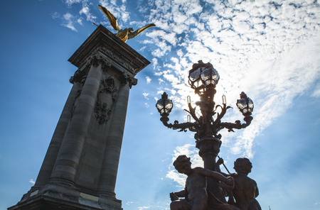 cherubs: PARIS - FRANCE - AUGUST 30: Sculpture on Alexandre III bridge in Paris on August 30, 2015 in Paris.