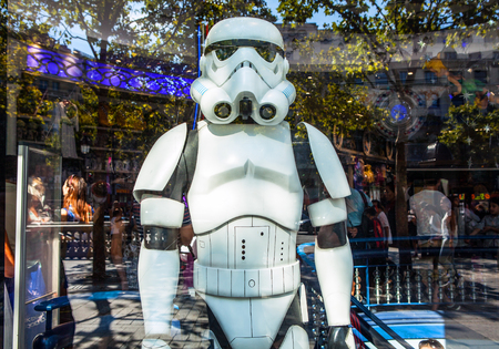 show window: PARIS, FRANCE - AUGUST 30, 2015: Soldier from star wars in show-window of toy store. Paris. Editorial