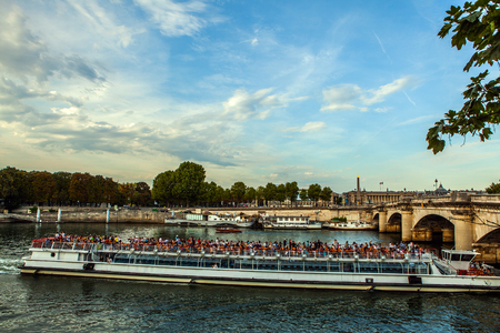 chanel: PARIS, FRANCE - AUGUST 28, 2015: Modern transport boat on Siena in summertime. Paris - France.
