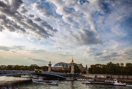 alexandre: PARIS, FRANCE - AUGUST 30, 2015: Famous Alexandre III Bridge over river Seine in Paris, France.