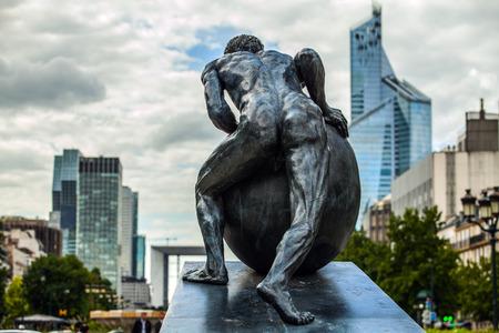 charles de gaulle: PARIS - FRANCE - AUGUST 30:  Statue on Charles de Gaulle Boulevard, near the La Defense, a major business district of the Paris Metropolitan Area built in 1883. on August 30, 2015 in Paris.