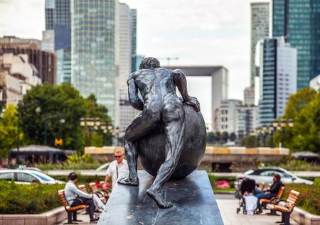 gaulle: PARIS - FRANCE - AUGUST 30:  Statue on Charles de Gaulle Boulevard, near the La Defense, a major business district of the Paris Metropolitan Area built in 1883. on August 30, 2015 in Paris.
