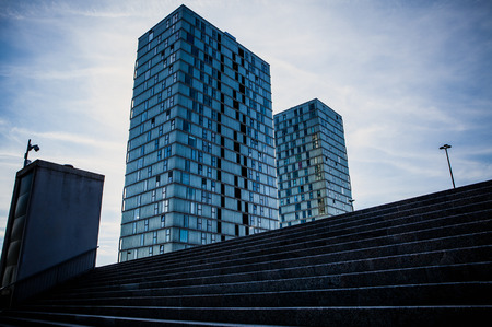 almere: ALMERE, NETHERLANDS - OCTOBER 18: Architecture of modern Almere city center. Netherlands.