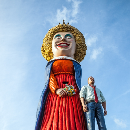 comical: AMSTERDAM, NETHERLANDS - JANUARY 10, 2016: Huge comical figures near shopping center on January 10, 2010 in Amsterdam - Netherland.