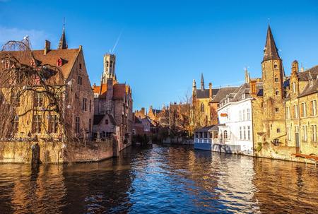 belfort: Bruges, Belgium. Image with Rozenhoedkaai in Brugge, Dijver river canal and Belfort (Belfry) tower.