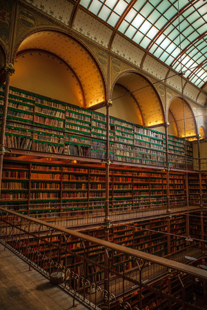 place of research: AMSTERDAM, NETHERLANDS - MARCH 15, 2016: Old library of Rijksmuseum, Amsterdam. Library is the largest public art history research place in Holland on March 15, 2016 in Amsterdam - Netherland. Editorial