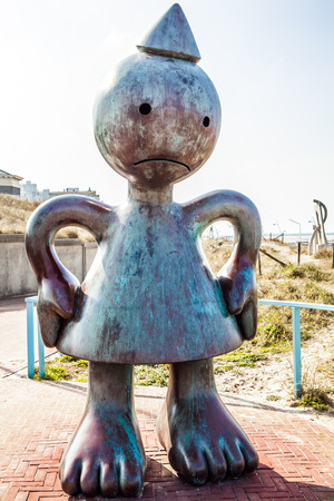 HAGUE, NETHERLANDS - MARCH 8, 2016: Sculpture garden in Scheveningen called SprookjesBeel den aan Zee (Fairytale Sculptures by Sea). 23 cartoon like sculptures by American sculptor Tom Otterness.
