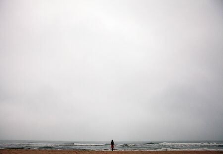 smal: Young woman with long hair standing back on beach of the North Sea in cloudy evening.