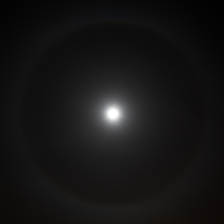 a rare: Closeup of full moon with rare light aura. Stock Photo