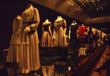 dummies: Abstract blurred photo of dummies in ancient fashionable dresses as background. Editorial