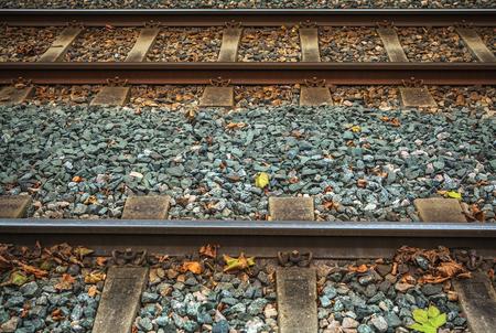 railway transportation: Railway tracks close-up as transportation background.
