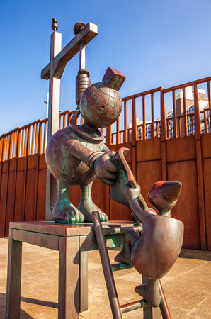 scheveningen: HAGUE, NETHERLANDS - MARCH 8, 2016: Sculpture garden in Scheveningen called SprookjesBeel den aan Zee (Fairytale Sculptures by Sea). 23 cartoon like sculptures by American sculptor Tom Otterness.
