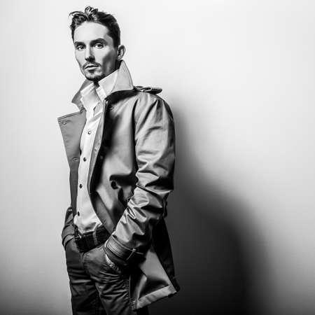 blackwhite: Elegant stylish handsome man. Black-white studio fashion portrait.
