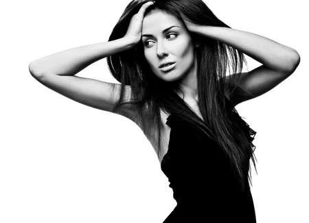 blackwhite: Black-white portrait of beautiful fashionable woman. Stock Photo