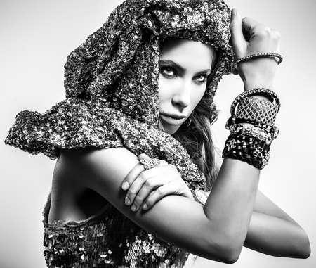 Black-white portrait of beautiful fashionable woman. photo