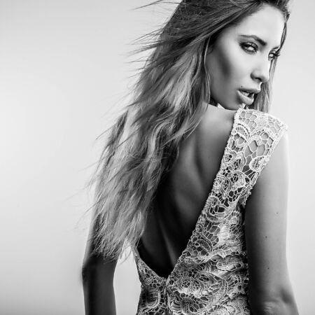 blackwhite: Black-white portrait of beautiful fashionable woman. Stock Photo