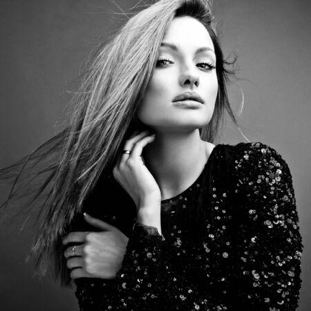 Black-white portrait of beautiful blonde woman. photo