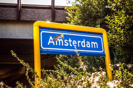 holand: Amsterdam damaged road sign.