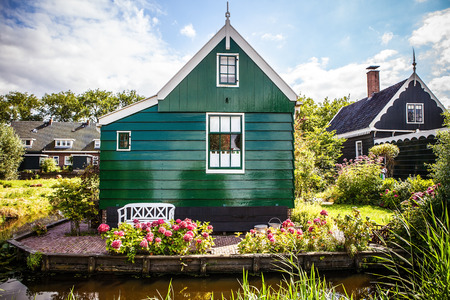 fasade: Traditional residential Dutch buildings close-up.