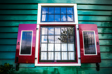 decorative balconies: Old traditional the Netherlands window close-up. Stock Photo