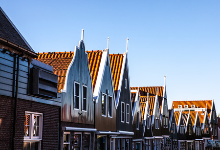 volendam: Traditional houses & streets in Holland town Volendam, Netherlands.