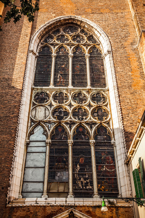 decorative balconies: Ancient Italian church window.