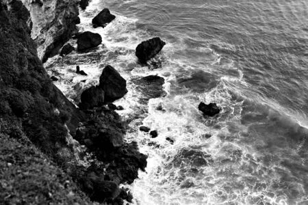 blackwhite: Coast of the tropical island. Black-white photo. Stock Photo