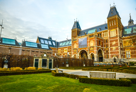 AMSTERDAM, NETHERLANDS - JANUARY 09 2017: Rijksmuseum - national museum dedicated to arts and history. One of the most popular museum in Europe. January 09, 2017 in Amsterdam, Netherlands. Editorial