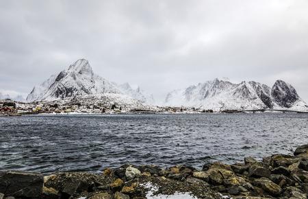 Landmarks of Lofoten islands. Beautiful Norway landscape.