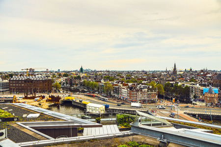 Amsterdam city from the top. General view from hight point at day time. Banco de Imagens