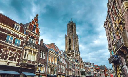 Ancient European church close-up. Utrecht - Holland.