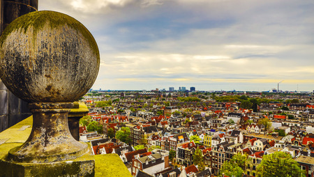 Amsterdam city from the top. General view from hight point at day time. Stock Photo