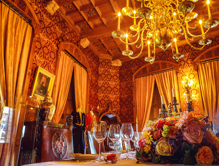 UTRECHT, NETHERLANDS - MAY 27, 2017: Luxury interior of Castle de Haar. It was built by the master of the Dutch Neo-Gothic Kuipers, for members of the Rothschild family. Utrcht, Netherlands - May 27. Éditoriale
