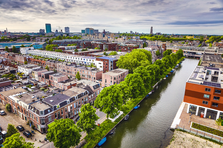 Utrecht city from top. General view from hight point at summer evening. Stock Photo