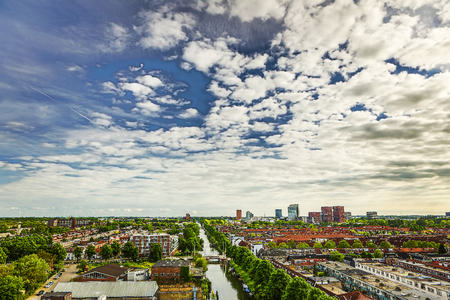 Utrecht city from top. General view from hight point at summer evening. Banco de Imagens