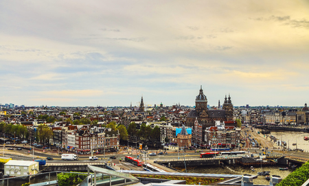 Amsterdam city from the top. General view from hight point at day time. Editorial
