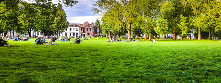 People are resting sitting on the grass in a summer park. Banque d'images