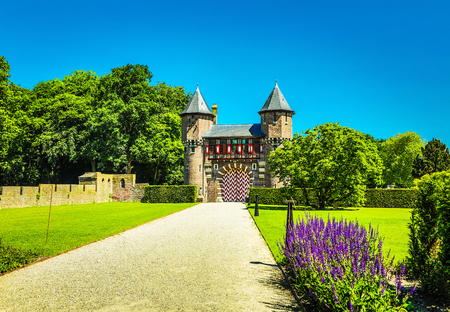General view of the Castle de Haar - the largest castle in the Netherlands. It was built by the master of the Dutch Neo-Gothic by Kuipers for members of the Rothschild family. Editorial
