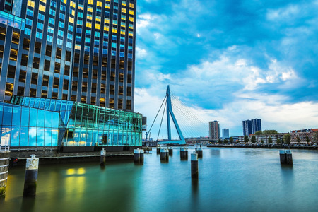 ROTTERDAM, NETHERLANDS - MAY 17, 2017: Modern buildings city architecture close-up design elements at twilight time. May 17, 2017 in Rotterdam - Netherlands.