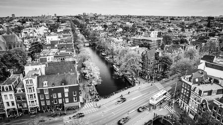 AMSTERDAM, NETHERLANDS - MAY 25, 2017: Amsterdam city from the top. General view from hight point at day time. May 25, 2017 in Amsterdam - Netherlands.