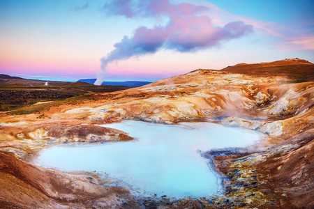 Volcanic lakes of Iceland. Scenic landscape at sunset. Stock Photo