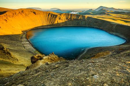 Volcanic lakes of Iceland. Scenic landscape at sunset. Stock Photo