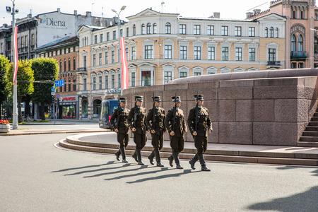 RIGA, LATVIA - AUGUST 27, 2017: Guard of honor in Riga. Riga, Latvia - August 27. Editorial