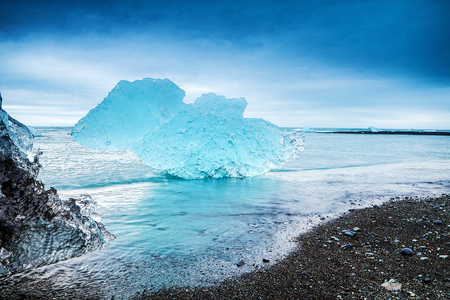 Glaciers on the beaches of Iceland.