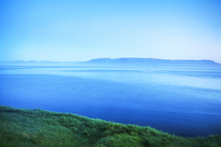Picturesque morning bay with the traditional nature of Iceland. Stock Photo