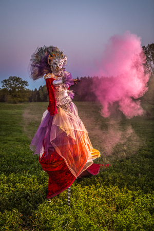 Fairy tale woman on stilts in bright fantasy stylization. Fine art outdoor photo.  免版税图像
